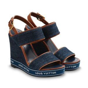 ⭐NEW⭐ Louis Vuitton - Croisiere Wedge Denim Sandal